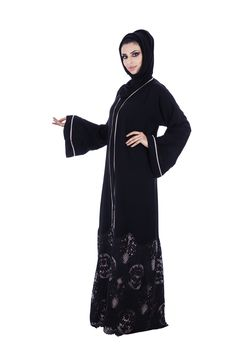 o3bay's graceful front open Abaya with netted embroidered flower patterns at the bottom giving it a modest look, this dress is easy to carry and soft in feel, can be worn in all kind of occasions.