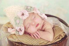 Knitted Pixie Bonnet with Crochet Flowers,New Born Bonnet, Pink Bonnet