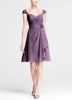 Chiffon Sweetheart Short Dress with Cap Sleeves Style F15406 Color Options: Wisteria