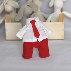 Items similar to Boy Doll Clothes Set 12 inch Doll Pants Shirt and Tie set - fits my 12 inch Bunny Rabbit Doll - red pants white shirt red tie on Etsy Pant Shirt, Pants, Boy Doll Clothes, Outfit Sets, Drink Sleeves, Bunny, Dolls, Trending Outfits, Handmade Gifts