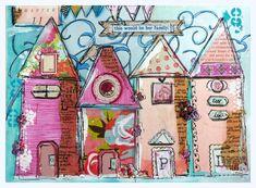 Impresión del arte trabajo de Collage caprichosas casas su