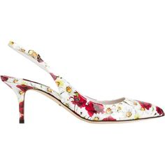 Dolce & Gabbana Daisy and Poppy Print Pumps (2,755 PEN) ❤ liked on Polyvore featuring shoes, pumps, white, ankle strap pumps, pointed-toe pumps, pointy-toe pumps, white shoes and white leather pumps