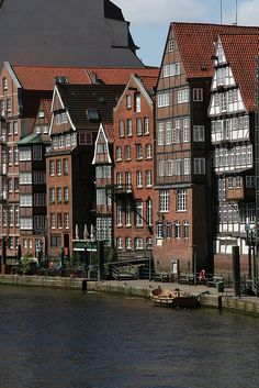 Ancient harbor warehouses in Hamburg, Germany. Germany Europe, Hamburg Germany, Germany Travel, Visit Germany, Wonderful Places, Great Places, Places To See, Beautiful Places, Amazing Places