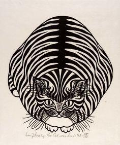 Cats in 20th Century Art- Jacques Hnizdovsky-The Cat 1968, cat print
