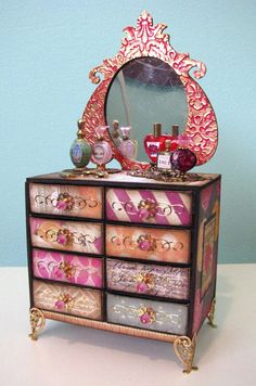 how to: matchbox dresser (link to tutorial) love the colors for a boho style roombox or house or caravan ...