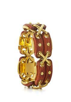 Cross Stitch Bracelet - Rosewood and 18K gold