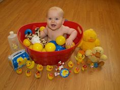 Tristen rubber ducky 1st birthday party baby in a bucket photography by Danielle Marie Photography