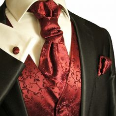 Elegant Burgundy Vines Suit Vest Set by Paul Malone. This tuxedo vest set includes the vest, a matching necktie, cravat, pocket square and cufflinks. Made for all formal events, from weddings to Proms. Wedding Vest, Wedding Waistcoats, Red Wedding, Wedding Suits, Wedding Attire, Wedding Tuxedos, Wedding Ideas, Wedding Flowers, Wedding Venues