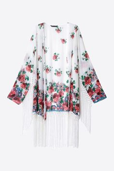 White Loose Fit Floral Tassels Kimono. Free 3-7 days expedited shipping to U.S. Free first class word wide shipping. Customer service: help@moooh.net