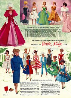 "by File Photo Digital Archive (the FPDA) — Barbie fashions from the 1963 ""Sears"" Toy Book"" Barbie I, Barbie World, Barbie And Ken, Barbie Stuff, Vintage Barbie Clothes, Vintage Dolls, Doll Clothes, Childhood Toys, Childhood Memories"