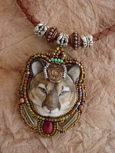 Reserved for Veronica Mens Mountain Lion necklace Bead Embroidery Jewelry, Fabric Jewelry, Beaded Embroidery, Jewelry Crafts, Jewelry Art, Unusual Jewelry, Handmade Beaded Jewelry, Beaded Animals, Beads And Wire