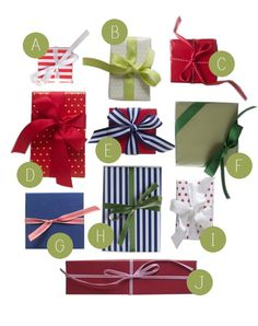 Preppy Wrapping. Grosgrain ribbon, satin, stripes and polka dots.