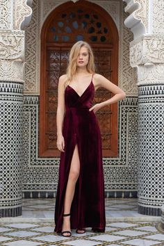 Luxury Awaits Burgundy Velvet Wrap Maxi Dress - FLASH SALE - ShopLuckyDuck   - 1