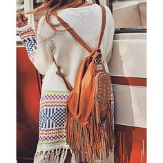 Chameleon Leather Bag ($215) ❤ liked on Polyvore featuring bags, handbags, shoulder bags, backpack shoulder bag, leather backpack, brown backpack, leather backpack handbags and brown shoulder bag