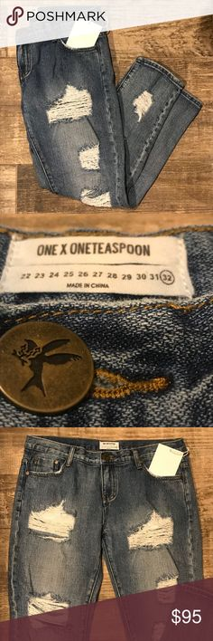 ONE TEASPOON Destructed Jeans New with tags - NO stretch - run small One Teaspoon Jeans Boyfriend