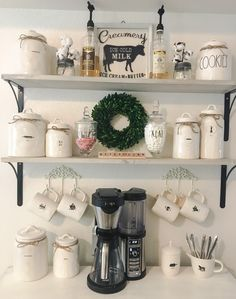 Mixing Rae Dunn collections for my everyday decor on my coffee bar