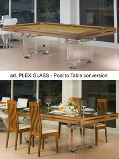 Mod. PLEXIGLASS Pool Table with Dining setup by Etrusco of Mosti Cesare.