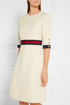 Gucci Cream wool and silk-blend Concealed hook and zip fastening at back 51% wool, 49% silk; trim1: 58% viscose, 38% cotton, 4% polyester; trim2: 50% viscose, 50% cotton; lining: 71% acetate, 29% silk Dry clean Made in Italy