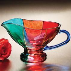 "Italian Crystal Pouring Bowl (6""W x 4""H) is such a beautiful piece of Murano Glass.It is not only fit for display but practical in the Kitchen as well."
