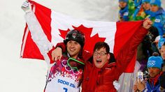 "Canada's Alex Bilodeau has credited his Olympic gold in freestyle skiing to his older brother Frederic, who has cerebral palsy. The moguls champion said his sibling is an ""everyday inspiration"" after embracing Frederic at his winning finish. Us Olympics, Winter Olympics, Brother Photos, Freestyle Skiing, Olympic Gold Medals, We Are The Champions, Cerebral Palsy, Olympic Games"