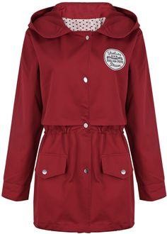 Dark Red Hooded Long Sleeve Pockets Outerwear - Sheinside.com
