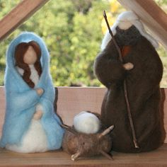 Needle Felted Nativity Set Including Wooden Stable and Manger - Waldorf Inspired Made to Orderd -. $100.00, via Etsy.