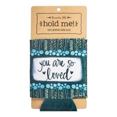 """Colorful and trendy neoprene Simple Inspirations drink sleeve will keep any bottle or can cold and your hands warm. """"You Are So Loved"""" sentiment and fun artwork makes this item a practical and inspirational gift. Floral Artwork, Manicure Set, Zipper Bags, Inspirational Gifts, Hand Warmers, Cool Artwork, Drink Sleeves, Drinks, Simple"""