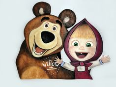 Masha and the bear, hand painted fondant decoration Cake Decorating With Fondant, Fondant Decorations, Masha And The Bear, Scooby Doo, Teddy Bear, Hand Painted, Painting, Character, Animals