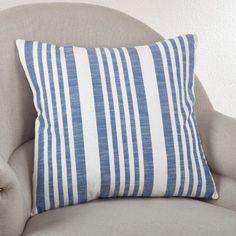 Saro Nautical Striped Cotton Throw Pillow Color: