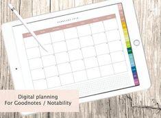 Digital Calendar Monthly 3 colors included For Kikki K, Filofax, Plane 2, Ipad, Calendar, My Etsy Shop, Bullet Journal, Digital, Handmade Gifts