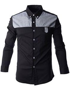 FLATSEVEN Mens Color Block Contrast Button Down Dress Shirt (SH1012) Black, M FLATSEVEN http://www.amazon.com/dp/B00N4P3QZY/ref=cm_sw_r_pi_dp_twDYub061XHPD #Mens Shirts #Mens #Casual Shirts #mens fashion #FLATSEVEN #fashion