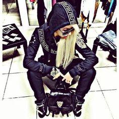 jumpsuit versace tracksuit tracksuit bottoms pants sweatsuit pullover  hoodie jacket sweater sportswear outwear outfit lookbook jumper dcfc35a8253