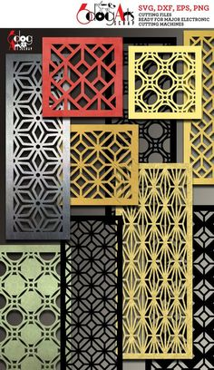 32 Geometric Pattern Grill Panel Templates Digital Stencils Cut Svg Dxf Files Room Screen Divider La Room Divider Screen, Room Screen, Room Dividers, Railing Design, Door Design, Geometric Patterns, Cnc Cutting Design, Laser Cutting, Metalarte