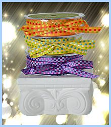 """This fine fashion ribbon is 3/8"""" wide and has 50 yards on a spool. Great for your sewing and decorating projects but also for hair bows, scrap-booking and wedding favors. Double-sided so there is no wrong side, this ribbon sells for $33.95 per roll which is only $.68 per yard. See more unique ribbons at www.favorsyoukeep.com. Questions? Call the design team at 512.323.0600. Family run since 1987!"""