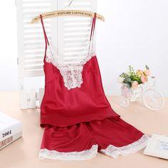 Women Sexy Silk Satin Pyjama Set Sleeveless Pijama Set Lace Pajama Set V-neck Sleep Wear Summer Night Wear Short Home Wear