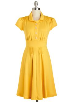 $104.99 Gold Golly Dress - Mid-length, Yellow, Solid, Buttons, Pleats, Casual, A-line, Cap Sleeves, Collared, Vintage Inspired, Shirt Dress