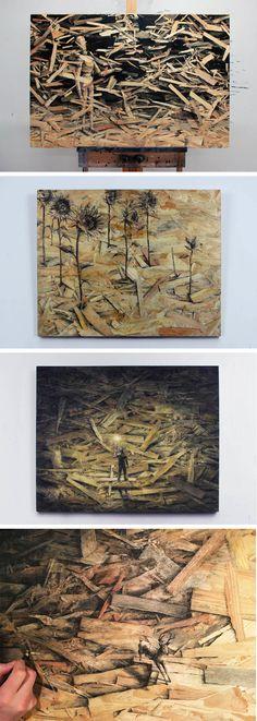 "Pejac's Newest Series ""Redemption"" Utilizes Pressed Wood as Canvas"