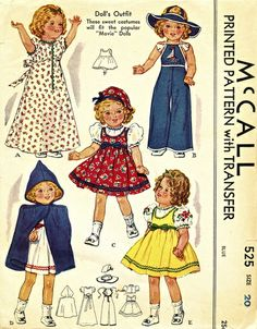"McCall 525 Vintage 30's Shirley Temple/Movie 20"" Doll Wardrobe - Nightgown, Guimpe (Jumper), Blouse, Dress, Cape, Hats + Embroidery Transfer..."