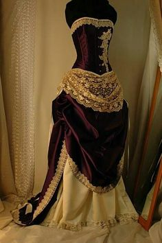 Custom made Antique cream and cadbury purple corset gown. But corsets. Costume Steampunk, Steampunk Dress, Steampunk Wedding, Steampunk Clothing, Steampunk Fashion, Victorian Fashion, Vintage Fashion, Victorian Dresses, Victorian Steampunk