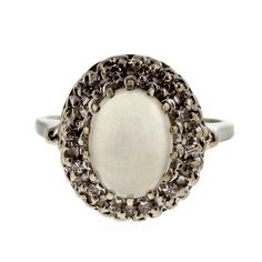 Vintage 1940 Translucent 1.10ct Blue Moonstone Diamond 14k White Gold Ring - petersuchyjewelers