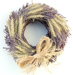 large wheat and lavender twig wreath