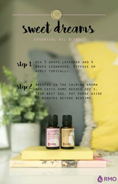 Allow this diffuser blend lull you to dreamland! Sweet Dreams mixes Lavender and Cedarwood to create a floral, woodsy aroma that will leave you prepared to catch the zzz's you deserve. Check out our RMO blog to see more recipes and remember to get your 10% off that week's Essential Wednesday essential oils!