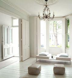 Elegant All White Homes  From the furnishings to the floors, this minimalist London home is bathed in shades of white.