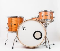 C&C Drums Europe - Vintage Drums - Player Date Europe - Natural African Mahogany - Kit (front) www.candcdrumseurope.com