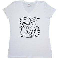 Lung Cancer Find a Cure Deco Women's V-Neck T-Shirt - White | Awareness Ribbon Shirts at Gifts4Awareness.Com
