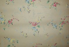1920s antique wallpaper pink and blue floral via Etsy