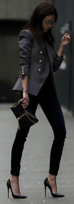 cool business outfit : blazer top bag black skinnies heels - Tap the link now to Learn how I made it to 1 million in sales in 5 months with e-commerce! I'll give you the 3 advertising phases I did to make it for FREE! Fashion Mode, Look Fashion, Trendy Fashion, Winter Fashion, Classy Fashion, Street Fashion, Feminine Fashion, Cheap Fashion, Sport Fashion