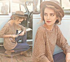 sweater, skinny trousers, fedora