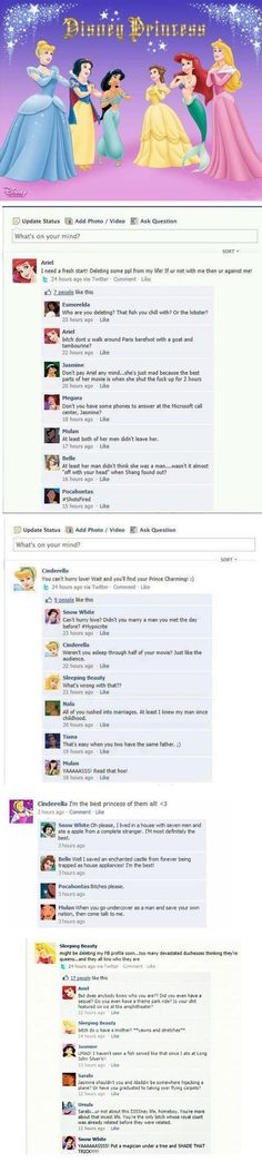 If Disney princesses had Facebook… - One Stop Humor: Funny Pictures and Videos!