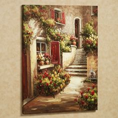 Home Tuscan Flowers Canvas Art Red Italian Home Decor, Rustic Italian, Mediterranean Home Decor, Mediterranean Paintings, Mediterranean Architecture, Tuscan Wall Decor, Tuscan Art, Tuscan Kitchen Decor, Pinterest Arte